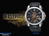【時間道】SEIKO PREMIER 經典人動電能萬年曆腕錶/黑面黑皮(7D56-0AE0E/SNP146J2)免運費