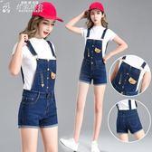 吊帶褲修身兩穿可拆卸牛仔吊帶短褲女夏中高腰彈力顯瘦吊帶褲中學生少女