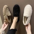 網紅毛毛鞋女冬外穿2019秋季平底羊羔毛加絨保暖一腳蹬豆豆鞋瓢鞋