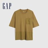 Gap男裝 厚磅密織系列街頭風純棉拼接寬鬆T恤 697676-棕色