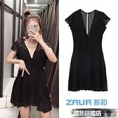連身褲 ZAUR2020年夏季新品短款小個子可愛黑色網紗V領連體褲裙女0387151