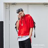 連帽T恤 嘻哈短袖t恤國潮街頭hiphop飄帶連帽寬鬆男街舞半袖體恤   傑克型男館