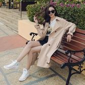 春秋時尚風衣女裝中長款過膝寬鬆女式薄款大衣bf外套 巴黎時尚