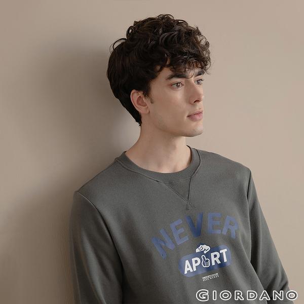【GIORDANO】男裝CHECKS大學T恤 - 12 青銅灰