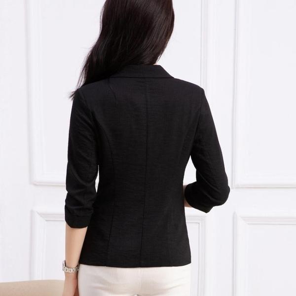 西裝外套 2019秋季新款條紋小西裝外套修身職業顯瘦百搭時尚七分袖小西服薄 3色M-4XL