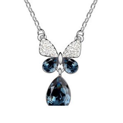 項鍊 925純銀 水晶墜飾-閃耀大方生日情人節禮物女飾品銀飾4色73aj575【時尚巴黎】