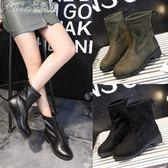 中筒靴 加絨粗跟短靴馬丁靴矮跟鞋子女百搭韓版女靴子「Chic七色堇」