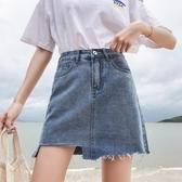牛仔短裙 夏季正韓大尺碼胖mm高腰a字牛仔短裙女學生不規則顯瘦包臀半身裙子