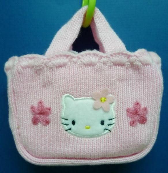 【震撼精品百貨】Hello Kitty 凱蒂貓~針織手提袋『粉小花』S