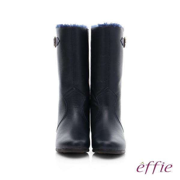 effie 心機美型 真皮絨毛內增高奈米長靴  藍