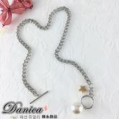 項鍊 現貨 韓國時尚甜美百搭五角星星水晶珍珠吊飾鍊條項鍊 S2502 批發價 Danica 韓系飾品