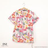 【INI】夏氛清新、舒適日系綿麻衫.紅色
