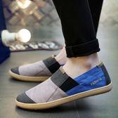 夏季亞麻透氣男士帆布鞋子一腳蹬不系帶防臭老北京輕便休閒布鞋 艾尚旗艦店