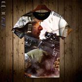 Qoqozozo2018新品使命召喚t恤短袖 全印花服飾圓領男短袖潮T