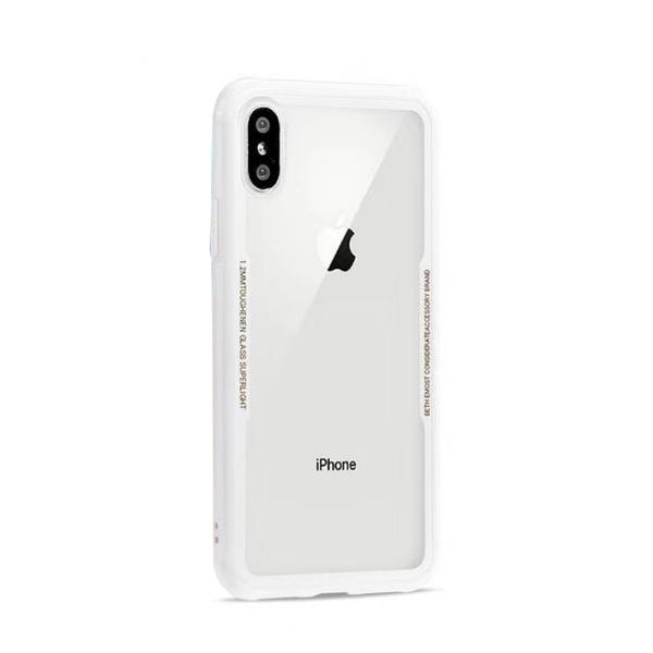 【R】iPhone X Xs TPU邊框 鋼化玻璃背板 蜂窩巢軟邊 清透 防摔 手機殼 全包邊軟殼