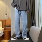 牛仔褲 褲子寬鬆直筒褲子男韓版潮流百搭牛仔褲男薄款淺色墜感寬管褲 果果生活館