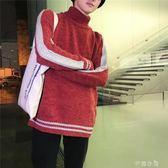 冬季男士高領毛衣男加厚潮流韓版個性針織衫寬鬆毛線衣男圓領毛衫 千惠衣屋
