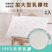 枕頭/ 乳膠枕-防蟎抗菌加大型乳膠枕2入/美國棉授權品牌[鴻宇]台灣製