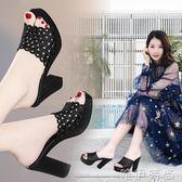 鏤空涼鞋 拖鞋女夏外穿韓版百搭粗跟防水台高跟涼拖鞋時尚涼鞋新款女鞋 唯伊時尚