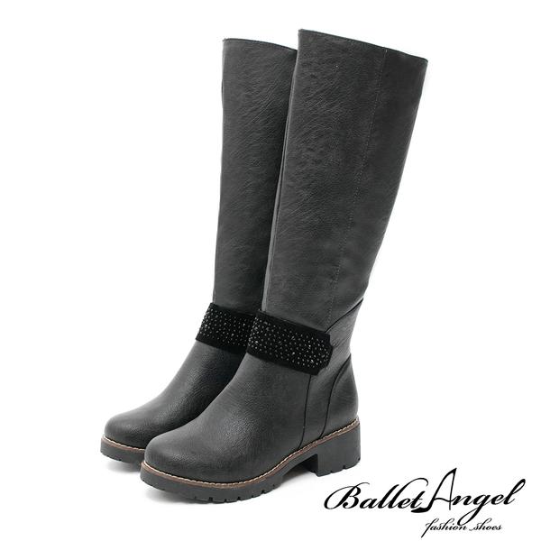 長靴 極簡美感燙鑽拉鍊長筒靴(黑) *BalletAngel【18-1781bk】【現貨】