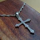 簡約設計S925銀鋯石鑽十字架項鏈(附S925銀項鏈)