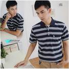 【大盤大】(P92873) 男士 零碼M號 短袖POLO衫 橫條紋 口袋上衣 透氣 反領休閒衫 保羅衫 88節禮物