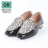 【ORiental TRaffic】動物紋拼接方頭踩腳便鞋-斑馬黑