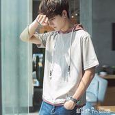 V37短袖男夏季男裝連帽半袖學生韓版衛衣寬鬆潮流上衣服小清新T恤  潔思米
