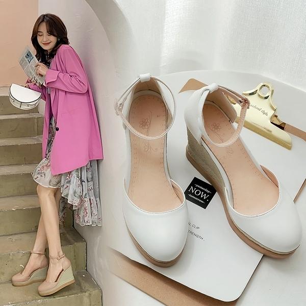 大尺碼女鞋34~44 2020日系波西米亞風厚底涼拖鞋楔形鞋~3色