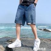 夏季牛仔褲男士五分中褲寬鬆直筒短褲潮流休閒褲工裝褲子薄款夏天『潮流世家』