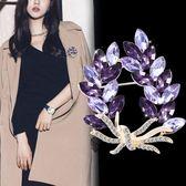 年終盛典 時尚花朵胸針女士人造水鉆水晶大氣胸花西服配飾開衫韓版毛衣別針