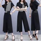 現貨3XL原宿風寬松顯瘦兩件套裝26136大碼女裝休閑闊腿褲套裝胖mm拼接條紋寬松顯瘦兩件套裝