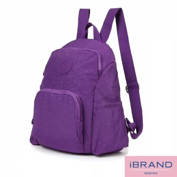 【南紡購物中心】iBrand後背包 輕盈防潑水防盜尼龍後背包-紫色 MDS-8526