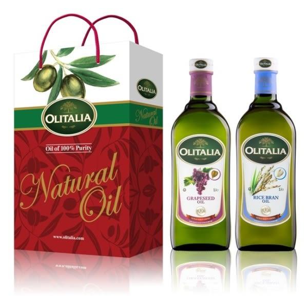Olitalia奧利塔葡萄籽油+玄米油禮盒組(1000mlx2瓶) 樂【屈臣氏】