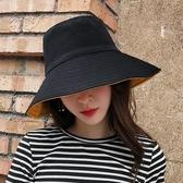 正韓雙面純色漁夫帽女大檐百搭日繫夏遮陽防曬太陽帽遮臉