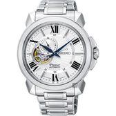SEIKO Premier 開芯小鏤空機械錶-銀X白