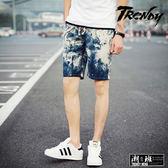 『潮段班』【HJ00DK02】M-4L多款花色圖樣抽繩鬆緊腰夏季亞麻休閒短褲 五分褲 膝上褲