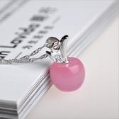 項鍊 韓版天然粉晶白貓眼石小蘋果吊墜銀項鍊男女士款情侶式水晶 快速出貨