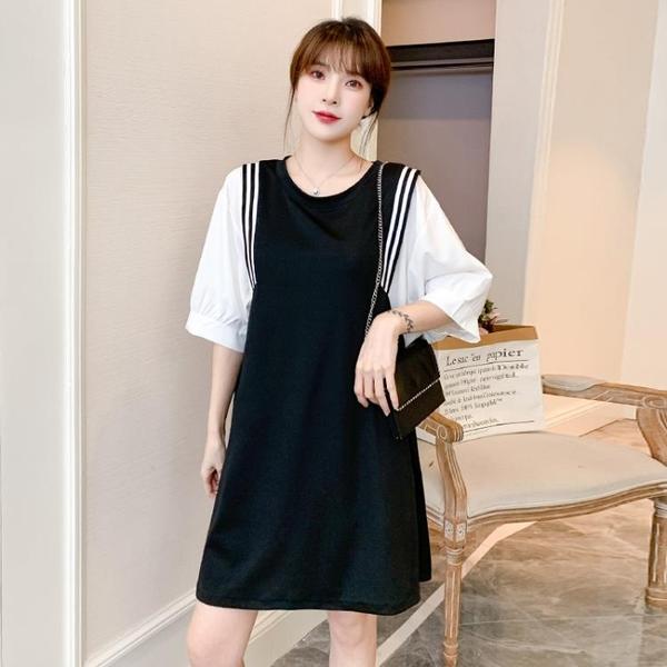 L-4XL胖妹妹大碼洋裝連身裙~大碼胖mm撞色寬松短袖t恤女士上衣連身裙3F061A衣時尚