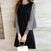 EASON SHOP(GU7627)韓版假兩件直條紋拼接喇叭袖荷葉領長袖連身裙洋裝寬鬆顯瘦A字裙純色小禮服黑色