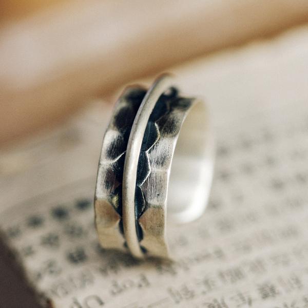 幾何凹凸寬面復古質感銀戒指中指食指指環/設計家