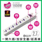 【台灣製造】 MAGIC 一開六插加安全蓋防雷擊延長線 15A 2.7公尺