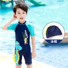 限定款短袖兒童泳裝 兒童連身泳衣卡通恐龍圖案