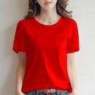 2021款夏季黑白紅色女式t恤短袖純棉百搭款半袖女士上衣寬鬆圓領【快速出貨】