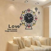 掛鐘創意摩天輪鐘表客廳現代簡約時尚大氣靜音石英鐘歐式時鐘掛表 NMS蘿莉小腳丫