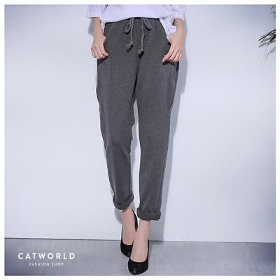 Catworld 抽繩鬆緊拉鍊口袋長褲【12001523】‧F