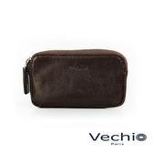 【VECHIO】經典商務男仕系列-多功用拉鍊零錢包(枯葉棕)VE042W09BR