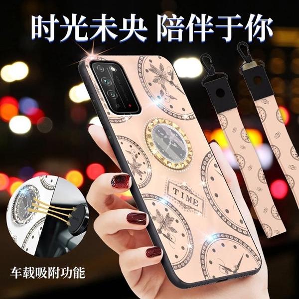時尚鐘錶殼 華為 榮耀X10 手機殼 榮耀 Honor X10 奢華 鑲鑽 車載磁吸指環支架 保護殼 手機保護套