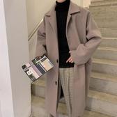毛呢風衣秋冬季毛呢大衣男中長款學生加厚呢子外套英倫風韓版潮流過膝風衣 LX新年禮物
