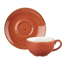 英國Churchill 點藏系列 - 360ml咖啡花茶杯盤組(彩橘色)